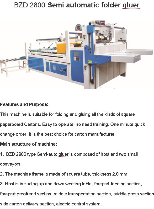 BZD 2800 Semi-Automatic Folder Gluer